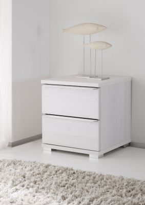STAUD Rubin 2 Drawer Bedside table with Decor White Body and Front