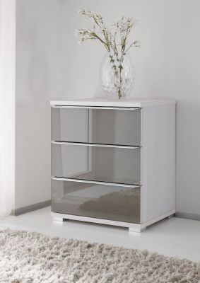 STAUD Rubin 3 Drawer chest with Decor White Body and Front Anthracite glass
