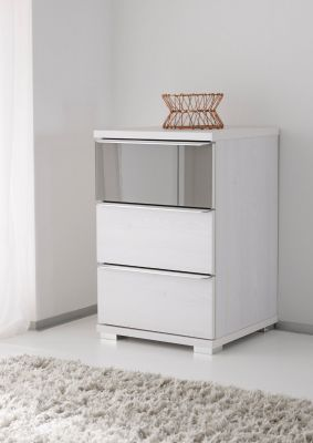 STAUD Rubin 3 Drawer Bedside with Decor White Body and Front with Highlight in Anthracite glass