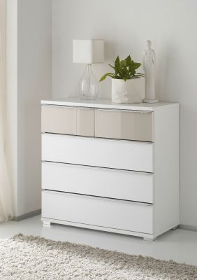 STAUD Rubin 3 Big and 2 Small Drawer Chest with Decor White Body and Front in Alpine White Glass and Sand Glass Highlight.