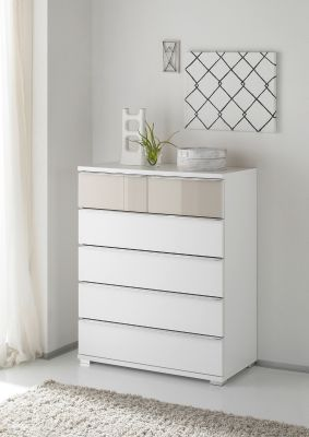 STAUD Rubin 4 Big and 2 Small Drawer Chest with Decor White Body and Front in Alpine White Glass and Sand Glass Highlight.