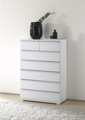 STAUD Rubin 5 Big and 2 Small Drawer Chest with Decor White Body and Front
