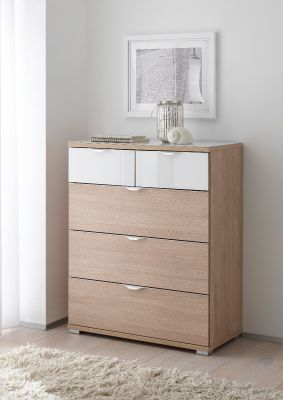 STAUD Rubin 3+2 Drawer Chest with Decor Natural Oak Body and Front in Natural Oak and Highlight Alpine White Glass.