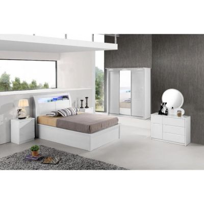 Rugby High Gloss Bed With Storage & Led Light