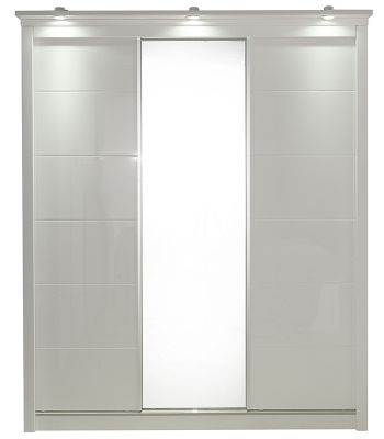 Rugby White High Gloss 3 Door Wardrobe With Light