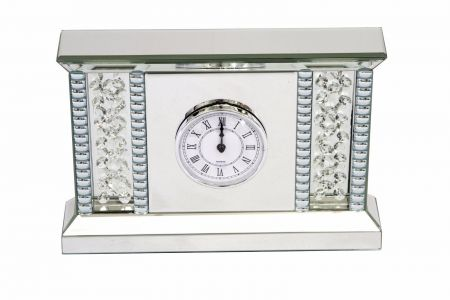 Mirrored And Floating Crystal Table Clock