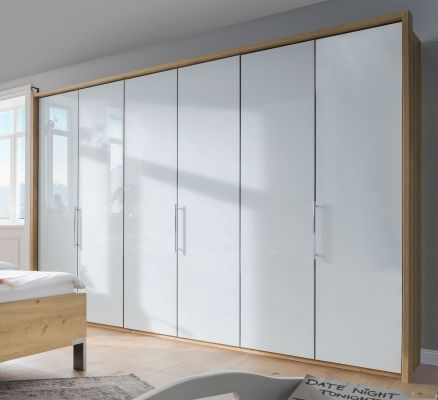 WIEMANN LOFT 6 Door Functional wardrobes with bi-fold-panorama doors White Glass Front and Biano Oak Carcase with Passe Partout