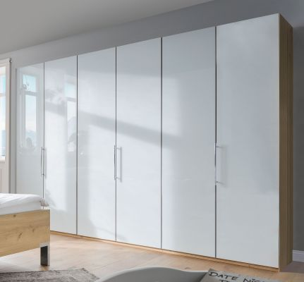 WIEMANN LOFT 6 Door Functional wardrobes with bi-fold-panorama doors White Glass Front and Biano Oak Carcase
