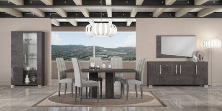 Status Sarah Grey Birch Dining Table With Six Chairs