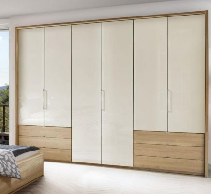 WIEMANN Serena Plus 6 Door Functional wardrobes with bi-fold-panorama wardrobe in Semi Solid Oak and Champagne Glass Finish with 3 drawers 100 cm left and right, on outside along with Passe Partout