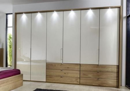 WIEMANN Serena Plus 6 Door Functional wardrobes in Front glass champagne with bi-fold-panorama wardrobe in Semi Solid Oak and 3 drawers100 cm in centre and right
