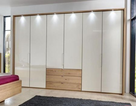 WIEMANN Serena Plus 6 Door Functional wardrobes in Front glass champagne with bi-fold-panorama wardrobe in Semi Solid Oak and 3 drawers100 cm in centre