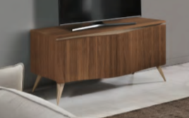 Saltarelli Emozioni Walnut Small TV Support Base With Wooden Top