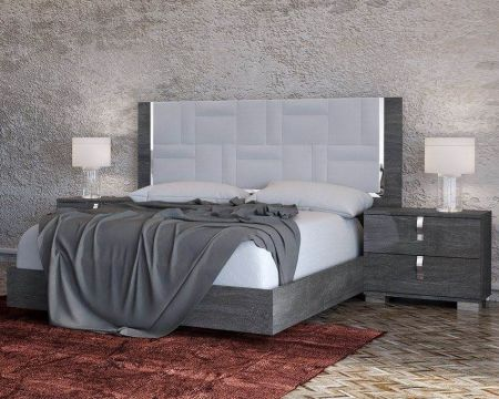 Status Sarah Geo Grey Birch Italian Bed Frame