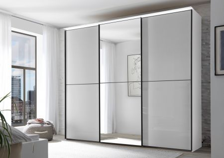 STAUD Satino Linea 3 Door Sliding Wardrobe with Decor Sapphire Carcase and Front in Light Grey Glass Frosted with Mirrored middle Door.