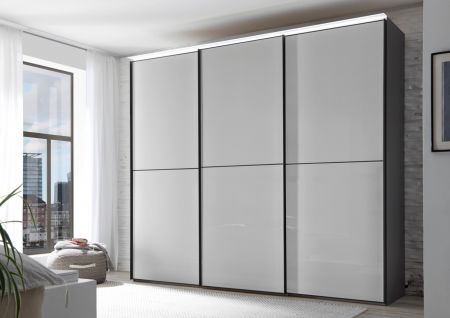STAUD Satino Linea 3 Door Sliding Wardrobe with Decor Sapphire Carcase and Front in Light Grey Glass Frosted.