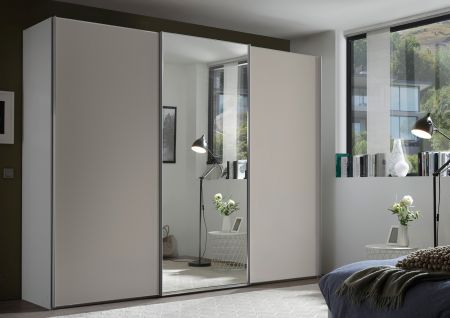 STAUD Satino Sensa 3 Door Sliding Wardrobe with Decor Sand Carcase and Front Sand Glass with Mirrored middle Door.