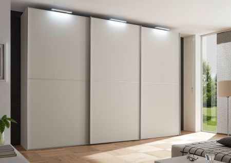 STAUD Satino Linea 3 Door Sliding Wardrobe with Decor Sand Carcase and Front in Sandglass.