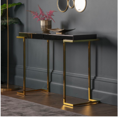 Hudson Living Delray Black Mirrored Console