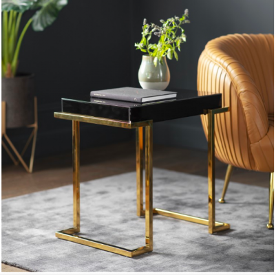 Hudson Living Delray Black Mirrored Side Table