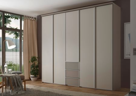 STAUD Sinfonie Plus 5 Door Hinged Wardrobe in Sand Finish and Sepia Carcase and decorative Top.