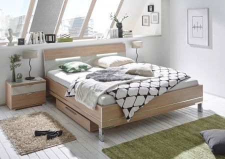 STAUD Sinfonie Plus Bed with White Glass and Natural Oak Frame.