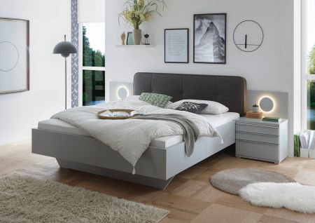 STAUD Sinfonie Plus Upholstered Bed with Fabric Titan and Light Grey Frame.