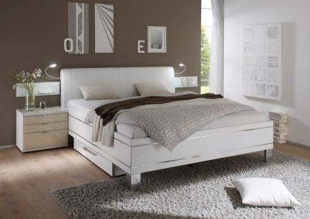 STAUD Sinfonie Plus Upholstered White Headboard with Drawers and Lights.