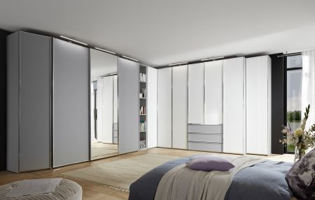STAUD Sinfonie Plus 10 Door Sliding and Hinged combination wardrobe with Light Grey and White Finish.