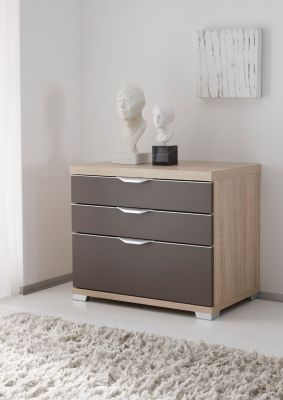 STAUD Sinfonie Plus Bedside with 3 Drawers in Sonoma oak and Sand Finish.