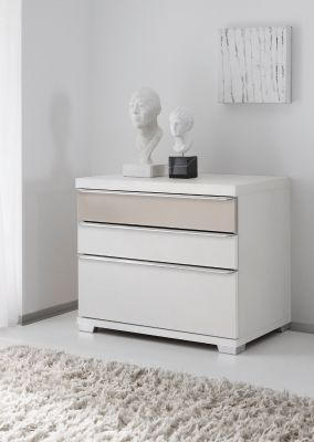 STAUD Sinfonie Plus Bedside with 3 Drawers in White and Sand Finish.