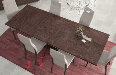 Status Prestige Umber Birch Openable Modern Dining Table