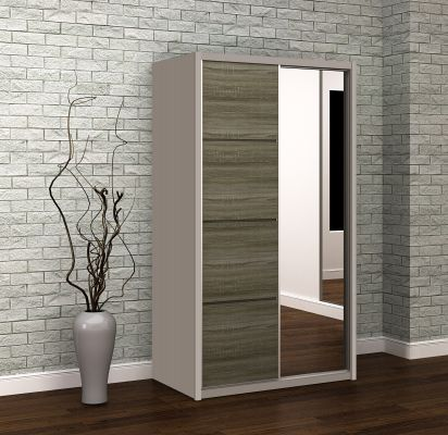 Azzurri Havana Oak Small Sliding Wardrobe With One Mirror Door With Cashmere Carcase