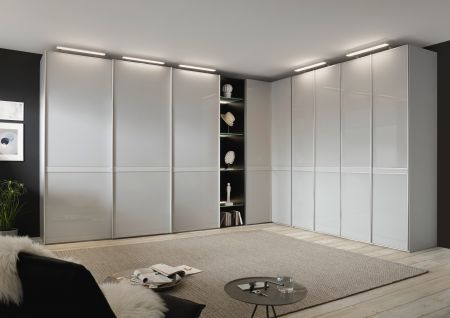STAUD Sonate Pesaro 9 Door Sliding and Hinged Door Combination wardrobe with Sapphire Carcass and Sapphire Glass Front with Illuminated Top