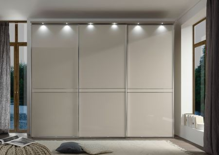 STAUD Sonate Pesaro 3 Door Sliding wardrobe with Sand Carcass and Sand Glass Front