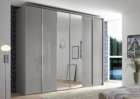 STAUD Sonate Rom 6 Door Hinged wardrobe with Sapphire Carcass and Sapphire Glass Front and 2 middle mirrored doors