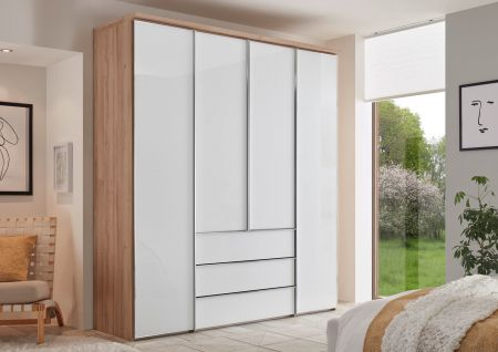 STAUD Sonate Rom 4 Door Hinged wardrobe with White Carcass and Alpine White Glass Front and 3 Drawers