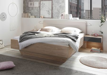 STAUD Sonate Straight Bed with Decor Natural Oak Frame with Imitation Beige Headboard.