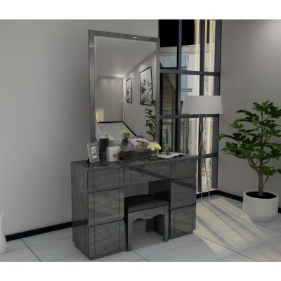 Paris Grey High Gloss Dresser Mirror Set