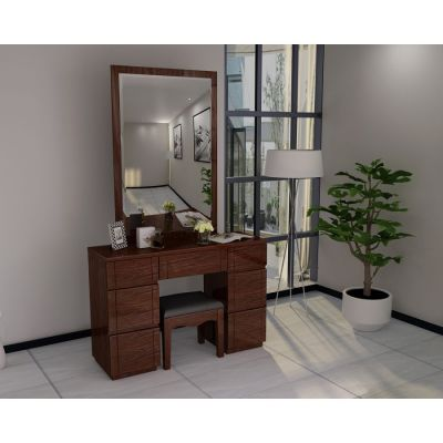 Paris Walnut High Gloss Dresser Mirror Set