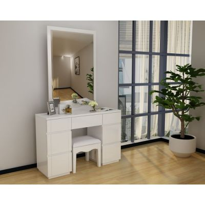 Paris White High Gloss Dresser Mirror Set