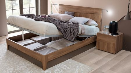 Camel Group Storm Walnut Finish Storage Bed Frame
