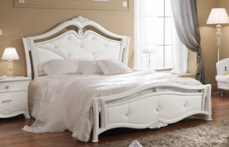 Saltarelli Giulia Letto Bed with Studded Headboard and Footboard