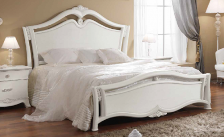 Saltarelli Giulia Letto Bed with Studded Headboard and Wooden Footboard