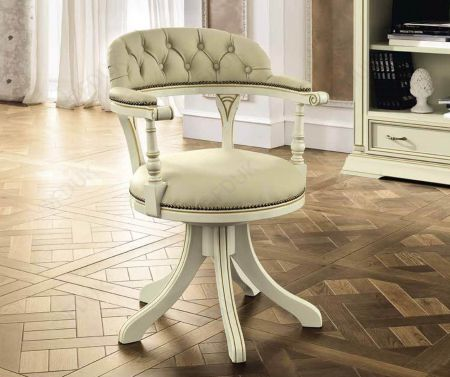 Camel Group Treviso White Ash Low back Swivel Chair - Ecoleather