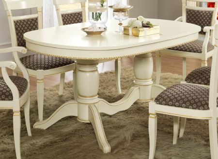 Camel Group Treviso White Ash Oval Extendable Dining Table with 2 Extensions