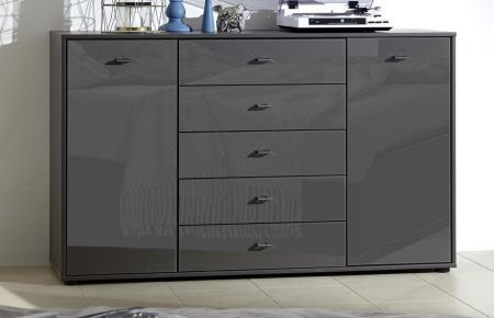 WIEMANN Tokio Bedside Combination dresser with 5 large pull-outs in Graphite Glass finish