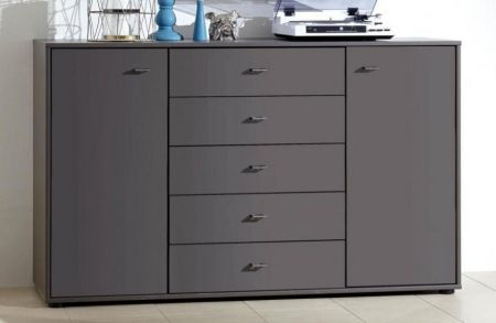 WIEMANN Tokio Bedside Combination dresser with 5 large pull-outs in Graphite finish