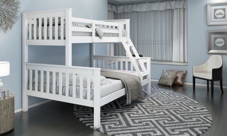 Triple White Bunk Bed Full Double