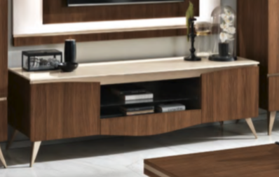 Saltarelli Emozioni Walnut TV Support Base With Marble Top